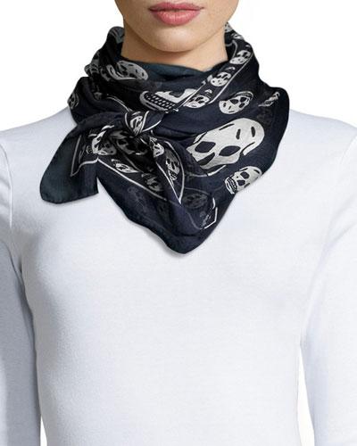 Men's Skull-Print Chiffon Scarf