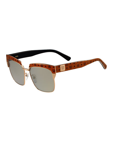 Printed Square Mirrored Sunglasses