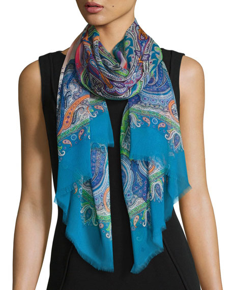 Dhely Ombre Striped Paisley Silk Scarf