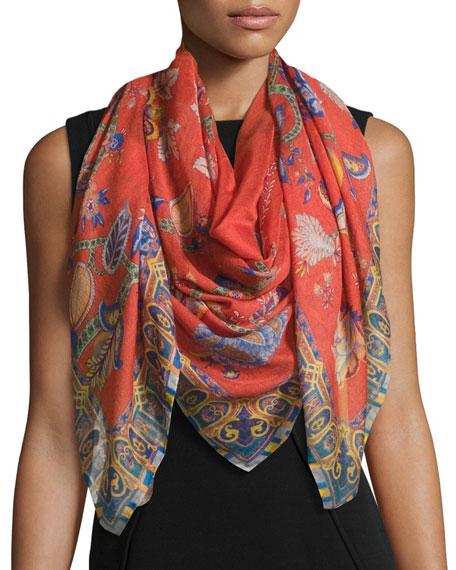 Etro Bombay Cashmere & Silk Shadow Floral Scarf,