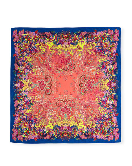 Bombay Floral Watercolor Paisley Square Scarf, Blue