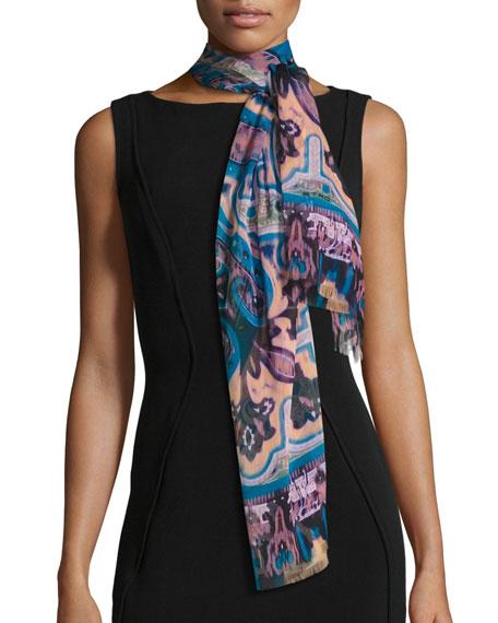 Ikat Paisley Silk Chiffon Scarf, Turquoise