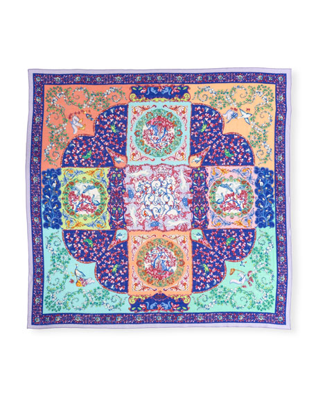 Bombay Fairytale Garden Paisley Cashmere Scarf, Blue
