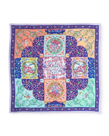 Bombay Fairytale Garden Paisley Cashmere Scarf, Blue