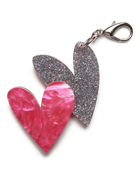 Double Heart Bag Charm, Pink/Silver