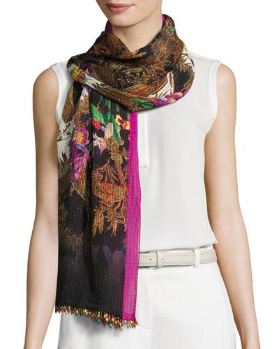 Floral Silk Jacquard Scarf, Black/Pink