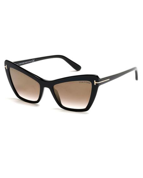 Valesca Cat-Eye Flash Sunglasses, Gold/Black