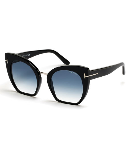 TOM FORD Samantha Cropped Cat-Eye Sunglasses, Turquoise/Black