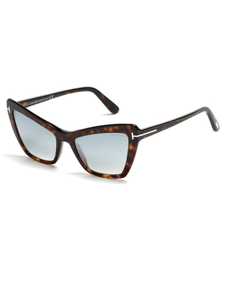 Valesca Cat-Eye Flash Sunglasses, Turquoise/Dark Havana