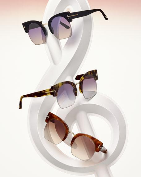 Savannah Semi-Rimless Cropped Round Sunglasses, Gray/Pink/Black