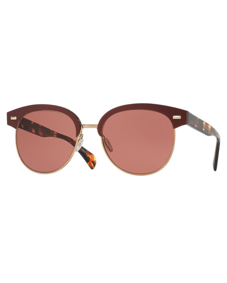 Oliver Peoples Shaelie Monochromatic Semi-Rimless Sunglasses, Red