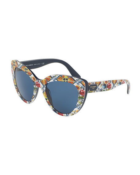 c7e217695 Dolce & Gabbana Floral Majolica Monochromatic Cat-Eye Sunglasses, Blue