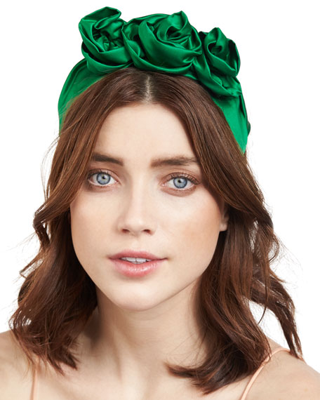 Rosette Silk Satin Headband