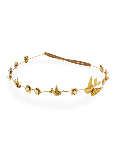 Wren Floral Swarovski® Pearl Bandeau Headband