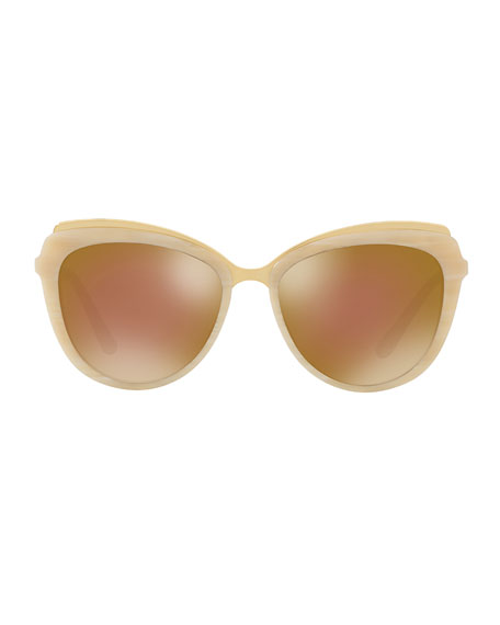 Metal-Trim Mirrored Iridescent Cat-Eye Sunglasses, Beige