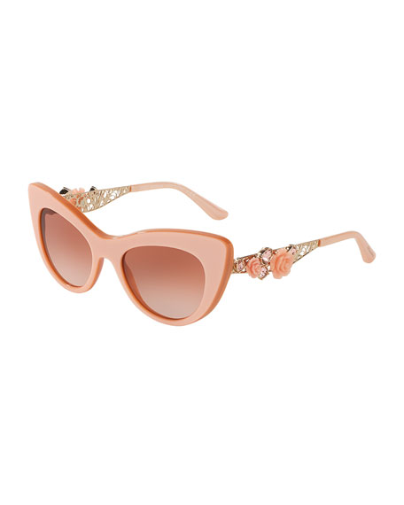 b6994837f80d Dolce & Gabbana Flowers Lace Gradient Cat-Eye Sunglasses