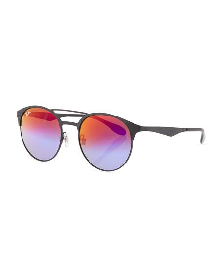 Mirrored Iridescent Round Double-Bridge Sunglasses