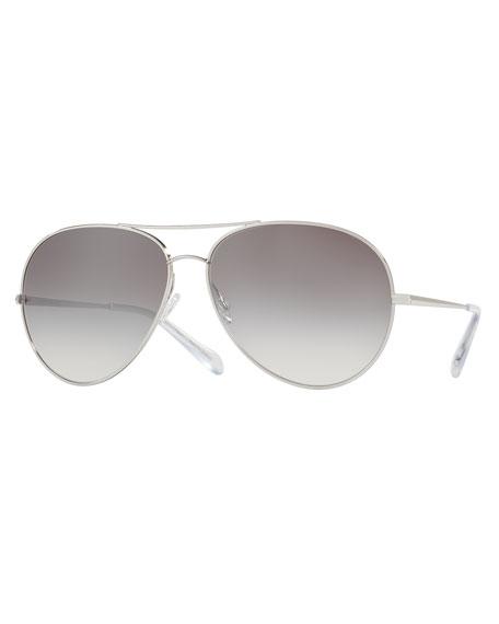 Sayer Mirrored Aviator Sunglasses, Silver