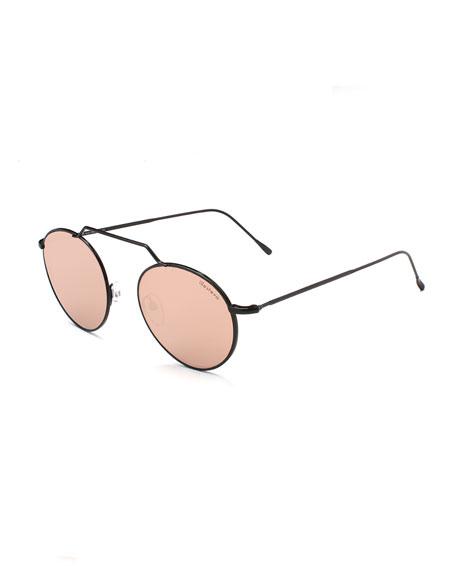 Wynwood II Round Mirrored Sunglasses, Black