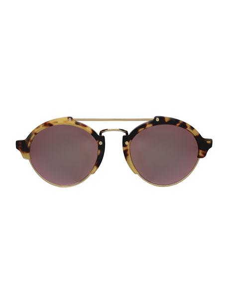 Milan II Mirrored Round Sunglasses, Tortoise