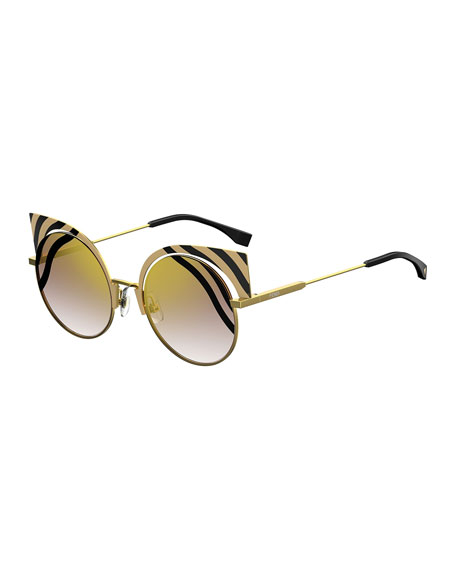 ce6387408f7e0 Fendi Hypnoshine Striped Cutout Sunglasses