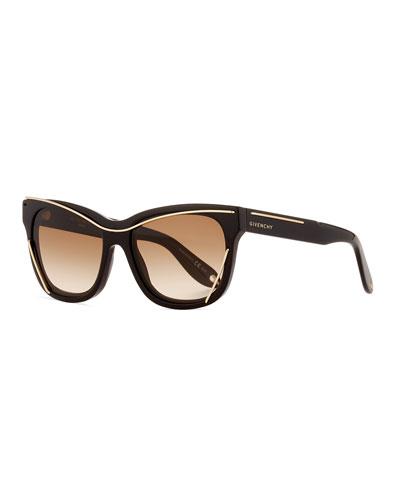 Square Metal-Trim Sunglasses