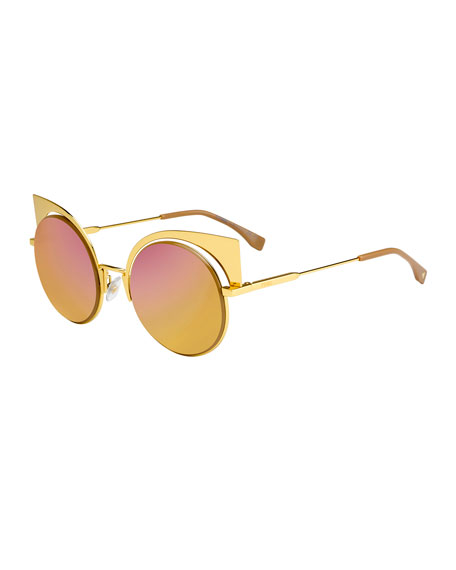 Fendi Runway Mirrored Cutout Sunglasses, Gold