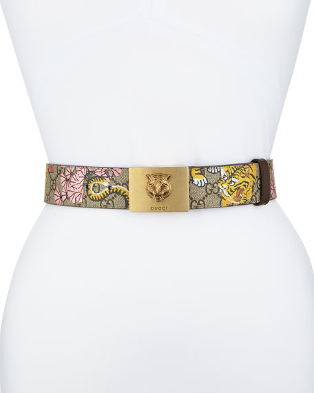 GUCCI Gg Supreme Blooms Belt W/ Tiger Buckle, Pink/Beige at BERGDORF GOODMAN