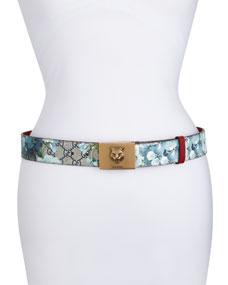 35d0c317fac2 Gucci GG Supreme Blooms Belt w  Tiger Buckle