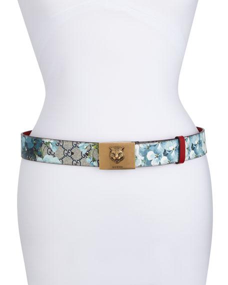 fff8119ade9 Gucci GG Supreme Blooms Belt w  Tiger Buckle