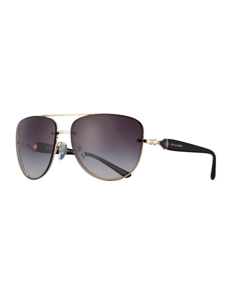 BVLGARI Square Gradient Aviator Sunglasses