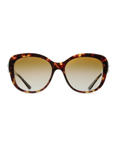 Square Gradient Polarized Sunglasses, Tortoise