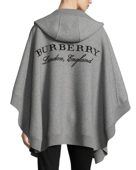 Ultramoderne Burberry Carla Hooded Open-Front Poncho, Gray YL-04