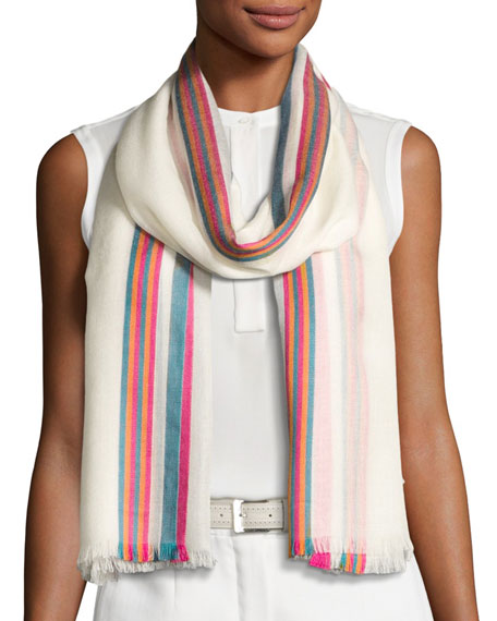 Loro Piana Shadow Striped Cashmere & Silk Stole,