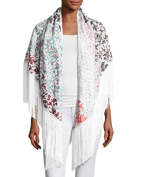 Floral Crochet Fringe Shawl, White