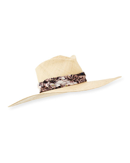 Audrey Paisley-Band Wide Sun Hat, Cream