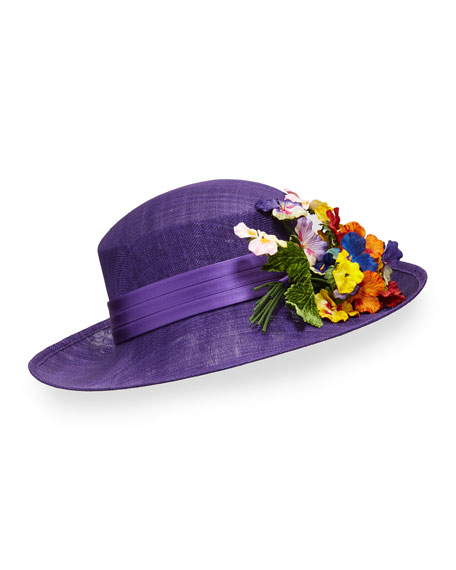 Straw Hat w/ Pansies, Purple