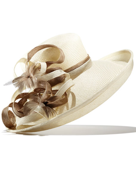 Woven Hat w/Feather Embellishment, Off White/Brown