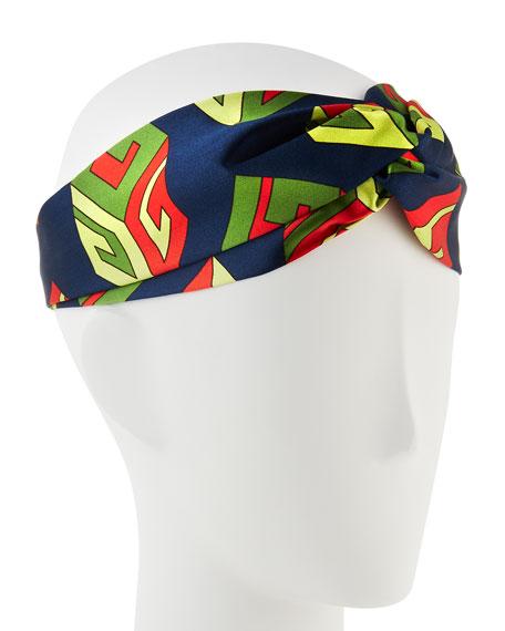 GG Wallpaper Silk Duchesse Headband, Navy