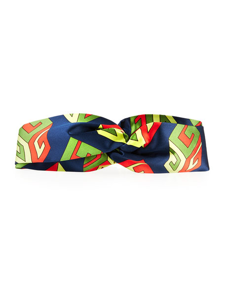 GG Wallpaper Silk Duchesse Headband, Navy