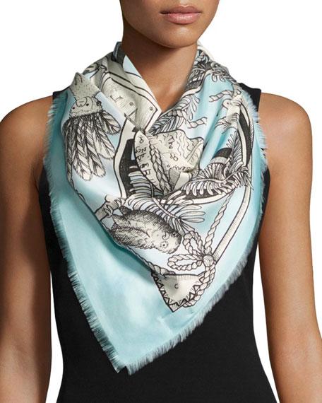 Gucci Chariot Tarot-Print Silk Twill Scarf, Blue