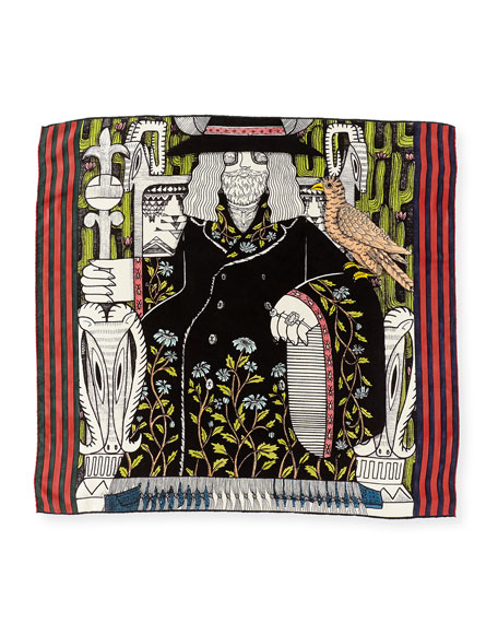 The Emperor Silk Twill Tarot Scarf, Multicolor