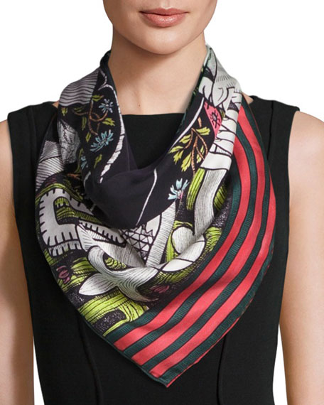 The Emperor Silk Twill Tarot Scarf, Multicolor