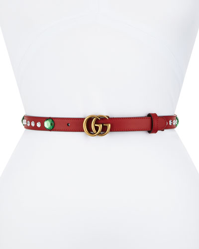 GUCCI Crystal Belt W/ Double G Buckle