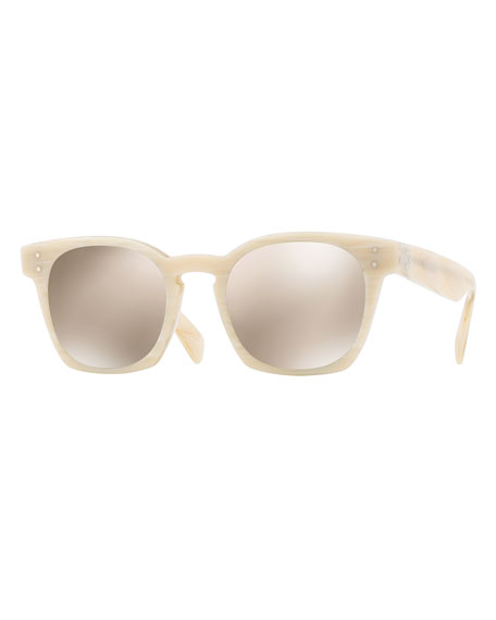 Oliver Peoples Byredo Square Mirrored Sunglasses, Beige Horn