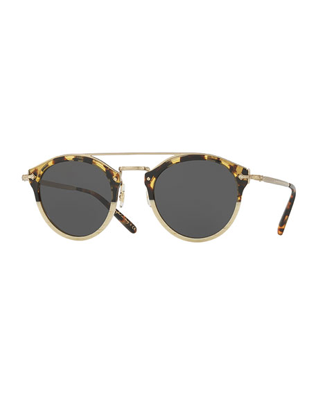 Remick Monochromatic Brow-Bar Sunglasses, Off White/Tortoise