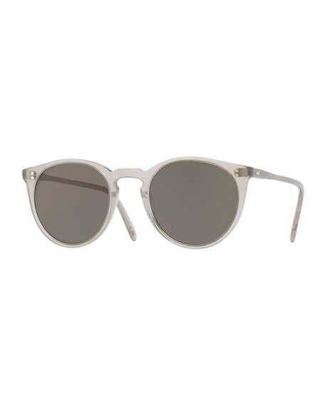 O'Malley NYC Peaked Round Monochromatic Sunglasses, Gray