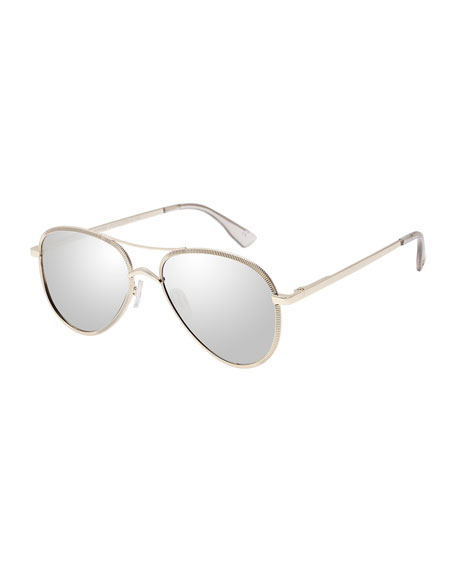 Empire Laser-Cut Aviator Sunglasses, Rose/Gold