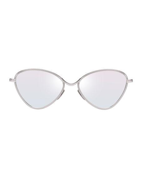 Bazaar Laser-Cut Geometric Sunglasses, Platinum
