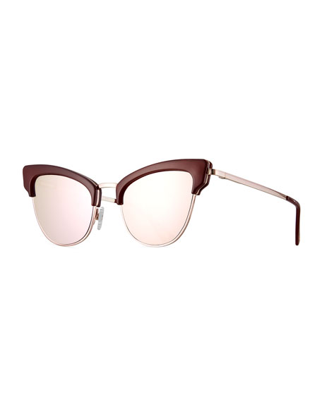 Le Specs Luxe Ashanti Semi-Rimless Cat-Eye Sunglasses, Garnet